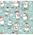 Cute snowmen seamless pattern vector image
