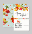 floral wedding invitation card template set vector image
