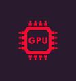 gpu icon graphic chipset vector image
