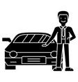man with new car - car dealer - auto dealership - vector image