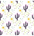 Purple and white cactus desert seamless pattern vector image