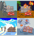 set of natural disasters banners landslide fire vector image
