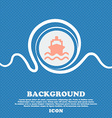 ship sign icon Blue and white abstract background vector image