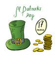 st patricks day hand drawn doodle set with irish vector image