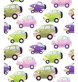 Texture with cute cartoon car with the headlights vector image