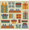 Retro Christmas set with gift boxes vector image vector image