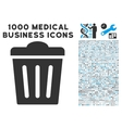 Trash Can Icon with 1000 Medical Business Symbols vector image