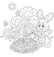 easter bunny with flowers vector image