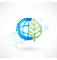 Eco globe grunge icon vector image vector image