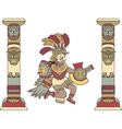 Aztec god between columns colored vector image