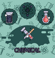 Chemical flat concept icons vector image