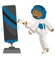 Man practicing taekwondo with boxing stand vector image