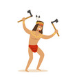 Native american indian in loincloth standing with vector image