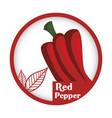 pepper vegetable fresh healthy label vector image