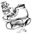 vintage sneakers and inspirational letterin vector image