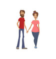 young family couple holding hands happy family vector image