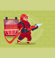 fireman holding hose wearing uniform and helmet vector image