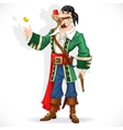Cute pirate with monkey throw up golden coin vector image vector image