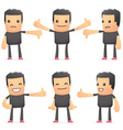 set of bad guy character in different poses vector image vector image