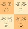 Sketch emoji girl facesl in vintage style vector image