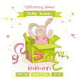 Baby Bunny in a Box - Baby Shower or Arrival Card vector image