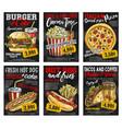 fast food restaurant menu price card on blackboard vector image