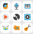 multimedia flat icons set collection of portfolio vector image