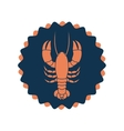 Stamp border with silhouette lobster vector image