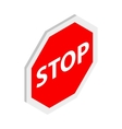 Stop sign icon isometric 3d style vector image