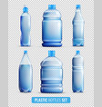 plastic bottles transparent icon set vector image vector image