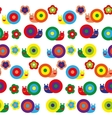 Seamless pattern with pretty snails on different vector image