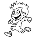 black and white boy run vector image