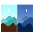 abstract flat mountain landscape daytime night vector image