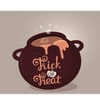 halloween of dark brown witch cauldron with vector image