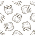 hand drawn seamless pattern jar of honey over vector image