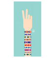 Hand with hippy friendship bracelets Victory sign vector image
