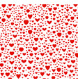 Red and white color seamless hearts pattern vector image