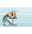 Drunk man fall asleep in the pub vector image