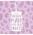 Freshly made with real fruits Hand drawn jar and vector image