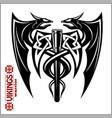 dragons and axe - viking emblem - vector image