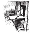 draw bridge wooden bridge vintage engraving vector image