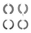 laurel wreath foliate symbols set black circular vector image