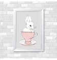 Rabbit in the cup Hand drawing vector image