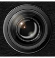 Realistic camera lens with the shutter closed in vector image