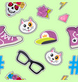 seamless pattern with cap cat glasses thunder vector image