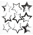 set of grunge star brush strokes vector image