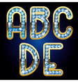 Gold and diamond alphabet letters vector image