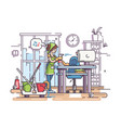 young cleaning woman cleans vector image