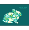 emerald flowerals bunny rabbit silhouette vector image