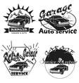 Set of car service labels emblems and design elem vector image